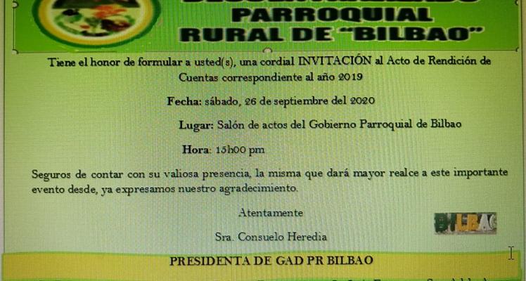 EL GOBIERNO PARROQUIAL BILBAO HACE LA CORDIAL INVITACIÓN AL EVENTO RENDICIÓN DE CUENTAS 2019.
